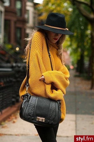 oversized turtleneck sweater heavy knit jumper chunky knit sweater oversized sweater yellow belt bag hat mustard sweater mustard yellow sweater black leather purse crossbody bag leather bag black bag