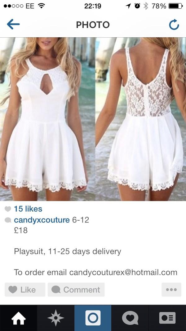 jumpsuit white lace romper