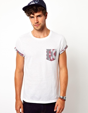 ASOS | ASOS T-Shirt With Geo-Tribal Print Pocket And Roll Sleeve at ASOS