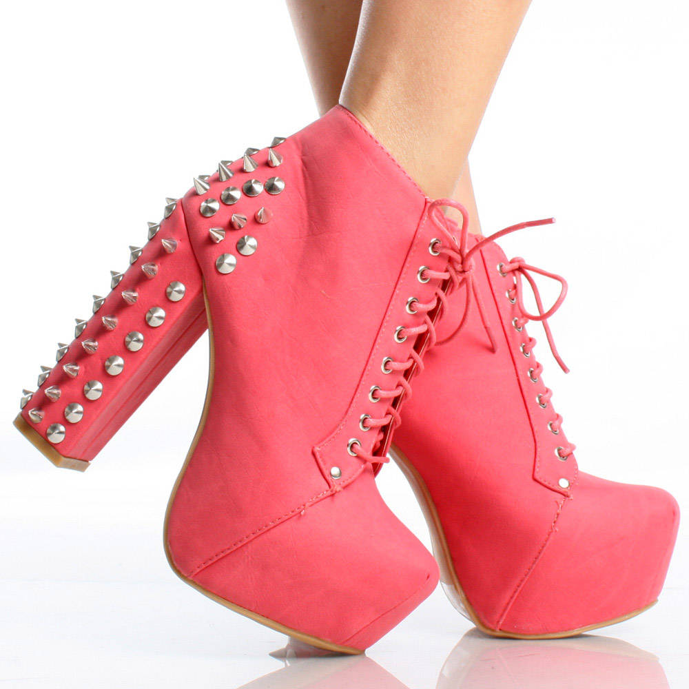 Spike Studded Embellish Lace Up Platform Chunky Heel Ankle Boots ...