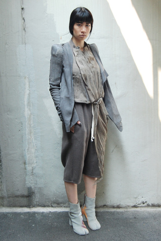 the rosenrot blogger rick owens grey jacket culottes