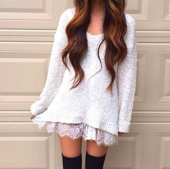 white dress long sleeve dress lace dress knit dress sweater dress white sweater winter sweater winter dress winterwear sweater