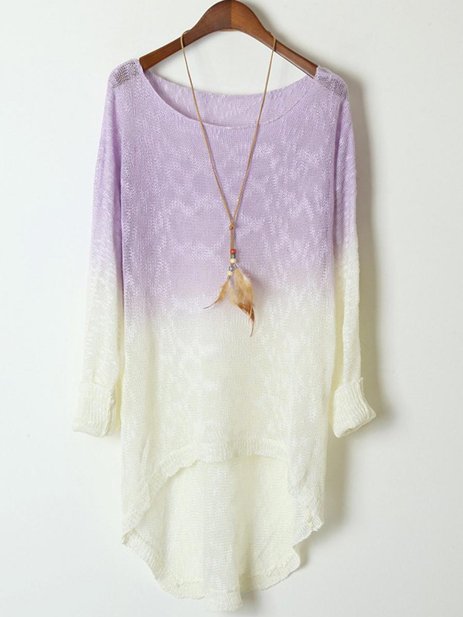 Purple White Contrast Bat High Low Sweater [DLN0234] - PersunMall.com