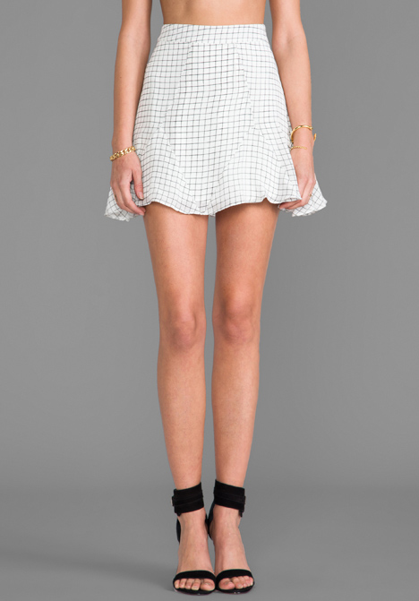 LINE & DOT Structured Printed Mini Skirt in Paper Grid - Line & Dot