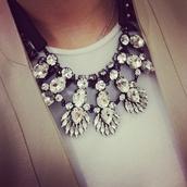 jewels,necklace,statement necklace,jewelry,rhinestones