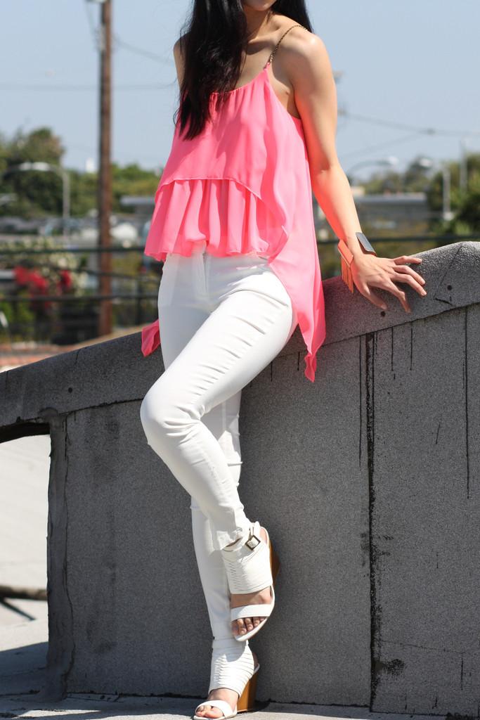 Layered Pink Chiffon Top | Obsezz