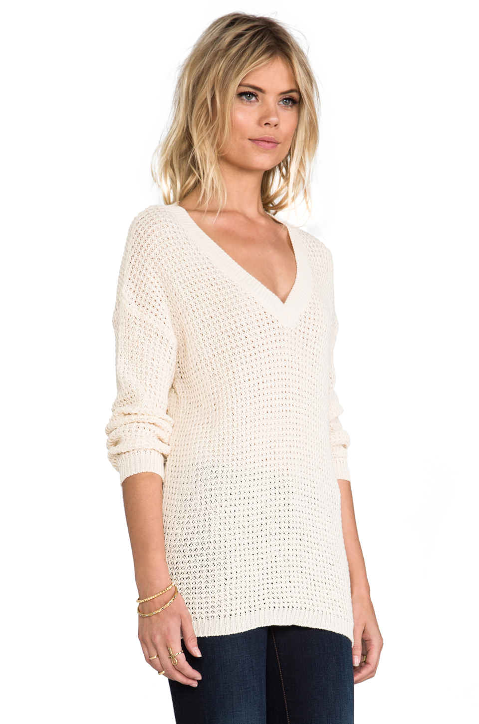 ANINE BING Knit Sweater in Beige | REVOLVE