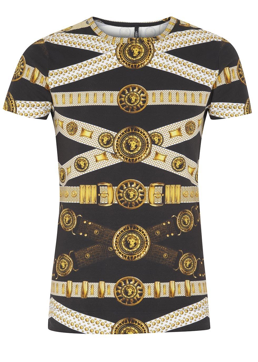 Black and gold belt print jersey T-shirt - Men 3b385a1ceb3a