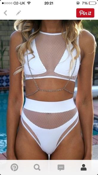 swimwear high waisted bikini bikini top bikini bottoms white swimwear net