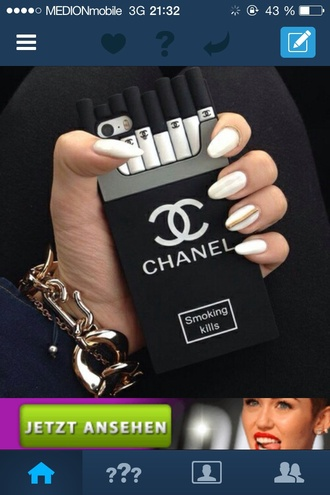 phone cover grey black chanel