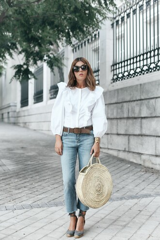 shirt blue jeans tumblr white shirt ruffle bag tote bag round tote denim jeans espadrilles wedges wedge sandals jewels shoes