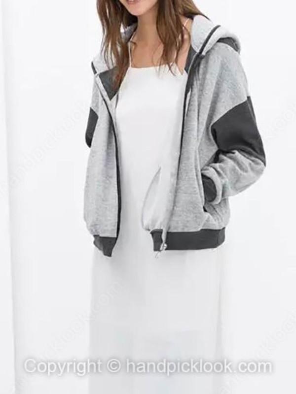 jacket hoodie gray hoodie grey grey hoodie paneled