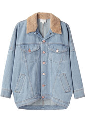 jacket,shearling denim jacket,denim jacket,shearling,denim