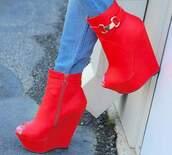 shoes,red,platform shoes,peep toe heels,ankle boots,jeans,denim