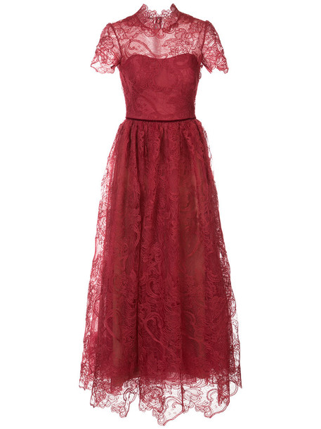 Marchesa Notte dress embroidered dress embroidered women lace red