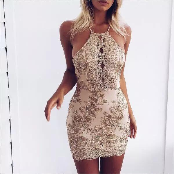dress bodycon dress halter dress party dress girl girly bodycon gold nude halter neck new  arrival floral embroidered dress champagne slip dress gold sequins short homecoming dress gold dress sequins diamonds