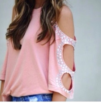 top style t-shirt cute pretty embellished top