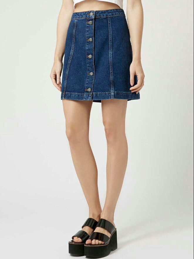 Single-breasted A-Line Denim Skirt -SheIn(Sheinside)