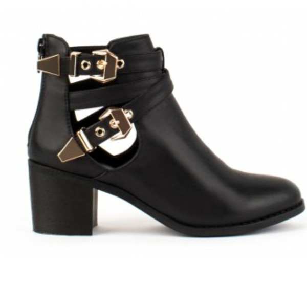 shoes cut-out black ankle boots