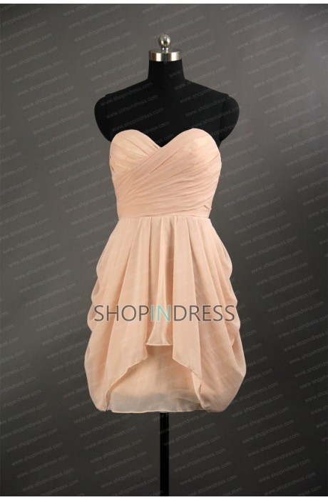 A-line Sweetheart Short/Mini Chiffon Blush Bridesmaid Dress with Pleated NPD1427 Sale at Shopindress.com