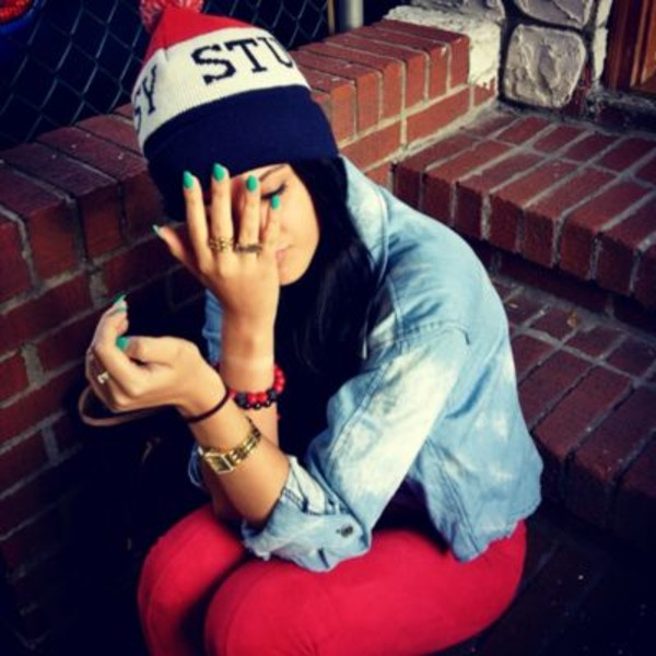 hat beanie denim jacket jeans ring bracelets