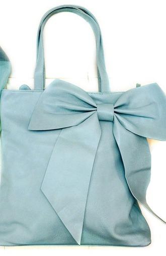 bag blue bag ribbon bow bag