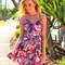 Multi floral dress - floral print dress with gathered | ustrendy