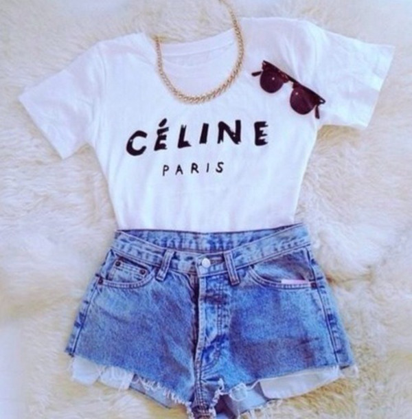 t-shirt celine celine paris shirt glasses chain shorts shirt white black