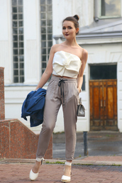 top,bow top,white top,espadrilles,tumblr,bow,crop tops,pants,grey pants,sandals,wedges,wedge sandals,shoes