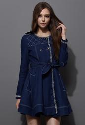 coat,double breasted,denim,trench coat,belt,blue