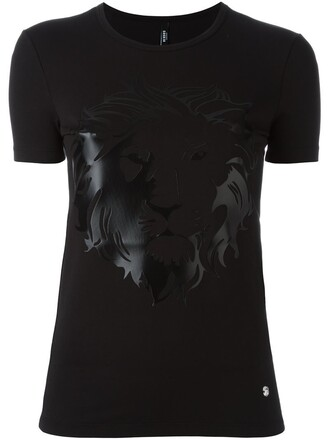 t-shirt shirt lion women spandex cotton print black top