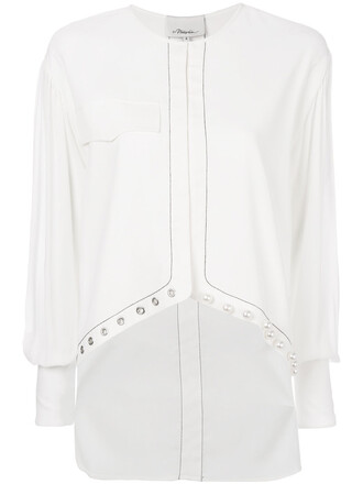 shirt women pearl embellished white cotton top