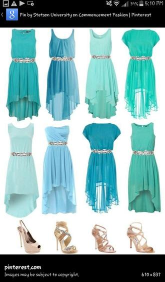 turquoise dress high-low dresses teens girls dress shoes
