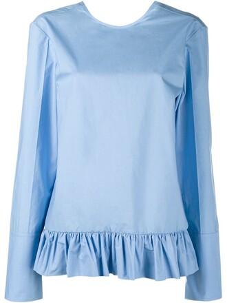 shirt long ruffle blue top