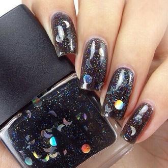 nail polish sparkle sparkly nail polish black nail polish moon moons and stars nail polish bottle semi transparent