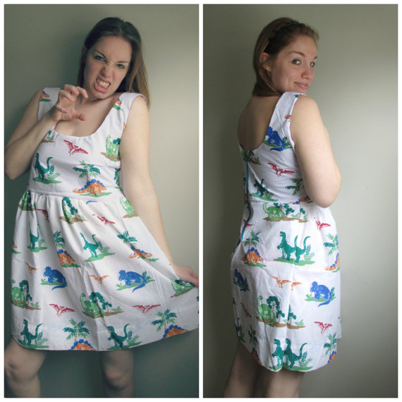 Vintage Dinosaur Tank Zipper Party Dress by CANDYPANTSclothing