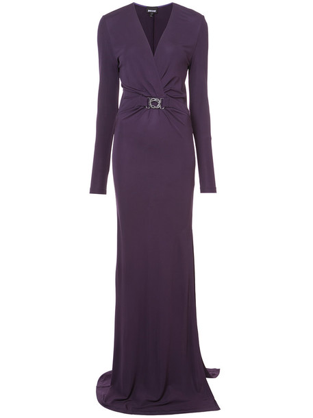 just cavalli gown women purple pink dress