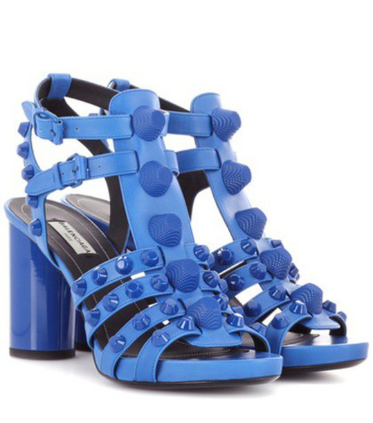 Balenciaga sandals leather sandals leather blue shoes