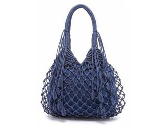 bag hobo bag mesh bag mesh blue bag