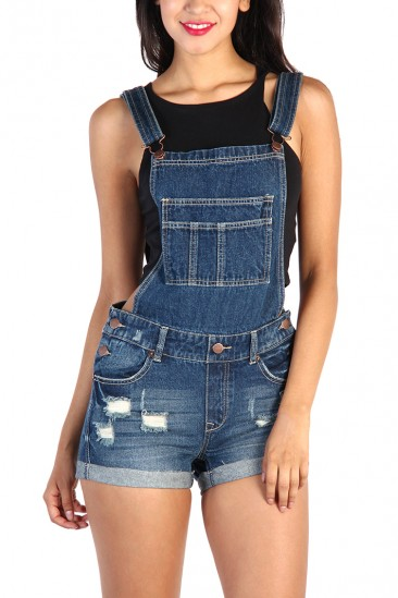 LoveMelrose.com From Harry & Molly | Denim Overall Shorts - Blue