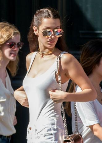 sunglasses tumblr bella hadid model model off-duty bodysuit white bodysuit mirrored sunglasses gold sunglasses