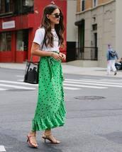 skirt,midi skirt,wrap ruffle skirt,polka dots,white t-shirt,shoulder bag,mid heel sandals,sunglasses