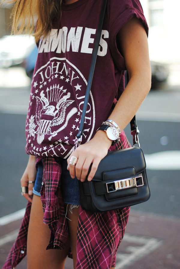 shirt ramones band band t-shirt band shorts plaid blouse t-shirt bag flannel red shoes black bag blue jeans shorts tumblr fashion bordeau eagle emblem red white