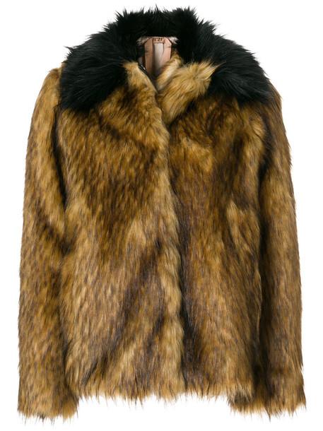 No21 jacket faux fur jacket fur jacket fur faux fur women brown