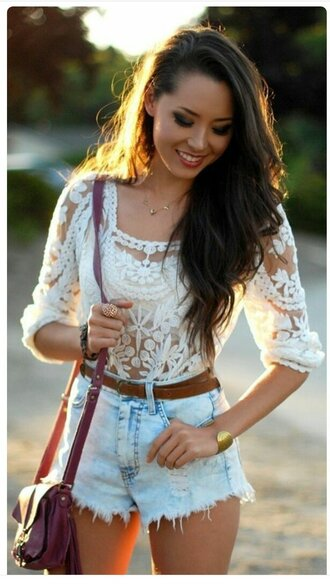 shirt white lace floral flowers see through long sleeves cute sexy