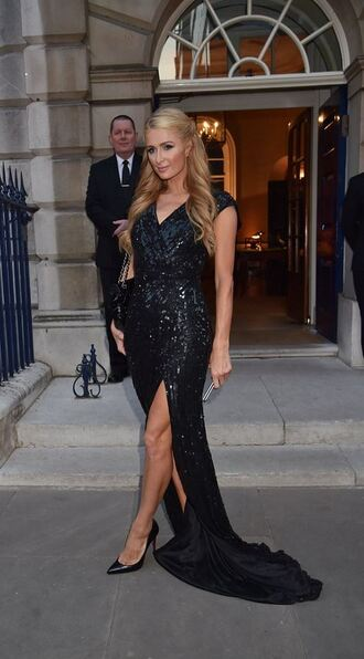 dress gown prom dress sequin dress paris hilton slit dress black dress