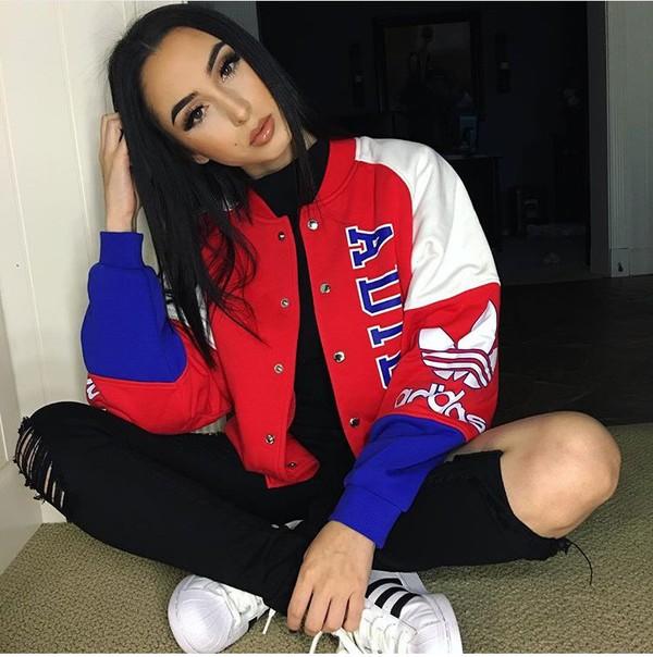 jacket adidas jacket bomber jacket red white blue