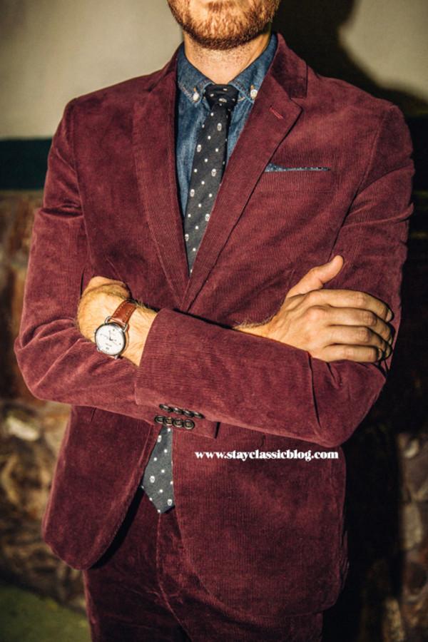 stay classic blogger jewels menswear burgundy denim tie velvet hipster menswear