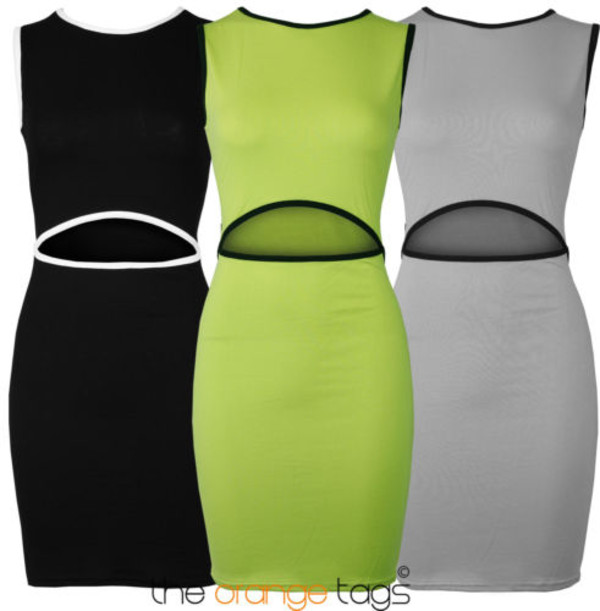 dress new sexy cut-out bodycon party dress young girl spring summer cut out bodycon dress keyhole neon