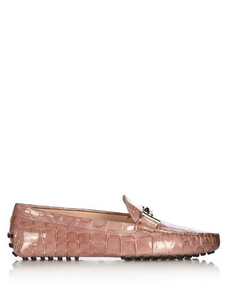 loafers leather crocodile light pink light pink shoes